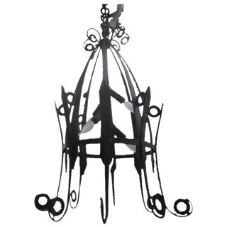1920's Antique French Wrought Iron Lantern For Sale