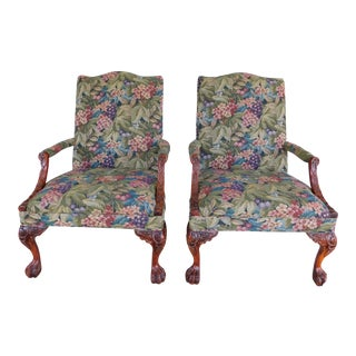 Sam Moore Chippendale Style Paw Foot Accent Chairs - a Pair For Sale