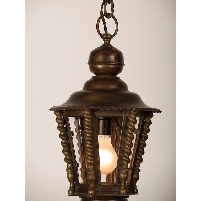 Brass 1920s Vintage Hexagonal Handsome Brass French Lantern For Sale - Image 7 of 7