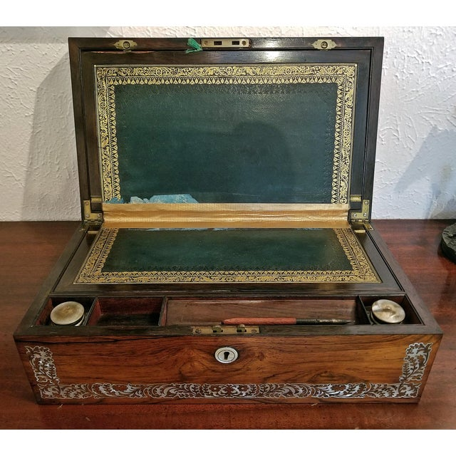 19c British Rosewood Campaign Writing Slope For Sale - Image 9 of 11