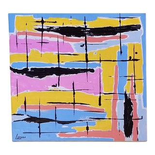 Mid-Century Style Contemporary Pastel Abstract Painting For Sale