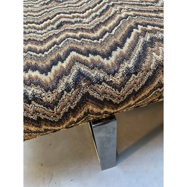 Tan Modern Kravet Missoni Flame-Stitch and Chrome Bench For Sale - Image 8 of 11