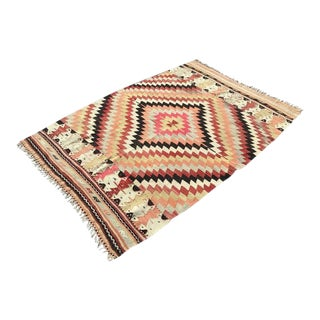 "1970s Vintage Turkish Kilim Rug-4'x5'11"" For Sale"