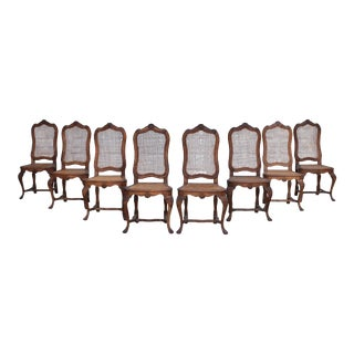 Louis XV Rococo Caned Dining Chairs Set of 8 For Sale
