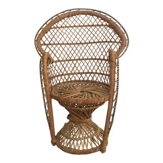 20th Century Boho Chic Rattan Peacock Chair Plant Stand For Sale