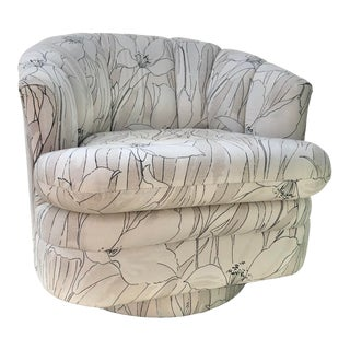 Vintage Art Deco Revival Upholstered Swivel Club Chair For Sale