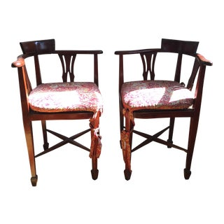 1940s Vintage Caned Corner Chairs With Paisley Cushions- a Pair For Sale