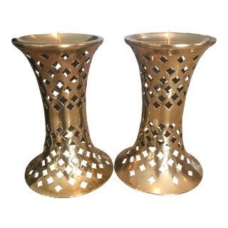 Mid-Century Pierced Brass Candle Holders - A Pair For Sale