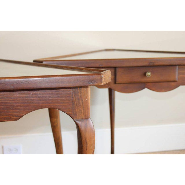 Pair of Mirror Topped Triangular Tables For Sale - Image 4 of 11
