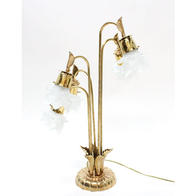 Vintage Brass Lamp With Rose Petal Shades - Image 4 of 6