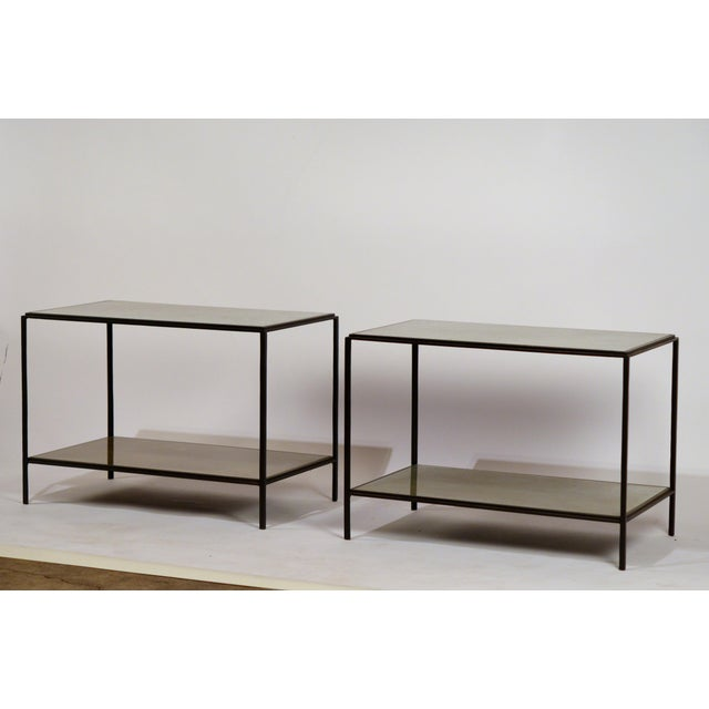 'Rectiligne' Mirrored End Tables by Design Frères - a Pair For Sale - Image 9 of 9