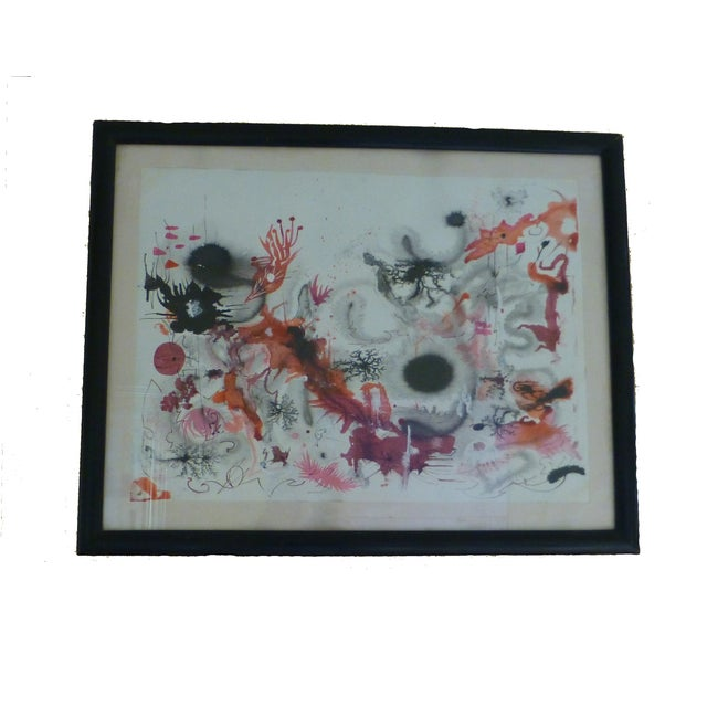 Mid-Century Abstract Watercolor Painting - Image 1 of 8