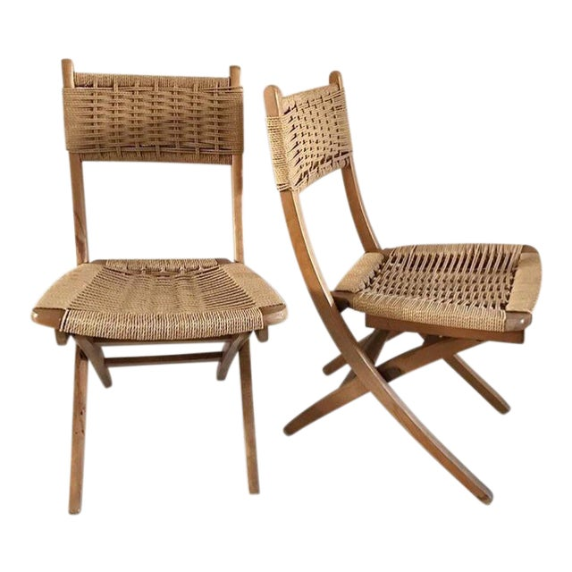 Outstanding Mid Century Yugoslavia Folding Rope Chairs A Pair Ocoug Best Dining Table And Chair Ideas Images Ocougorg