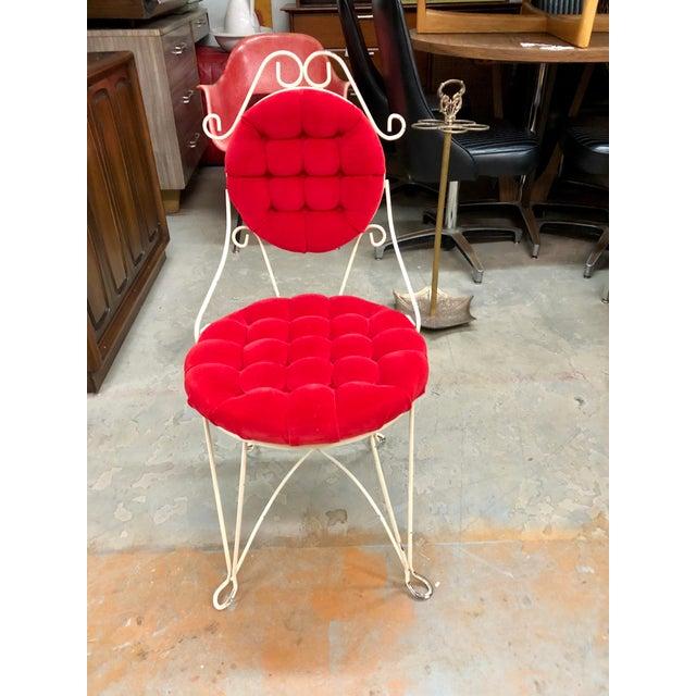 Vintage Teena Original Hollywood Regency Red Velvet Vanity Chair For Sale - Image 12 of 12