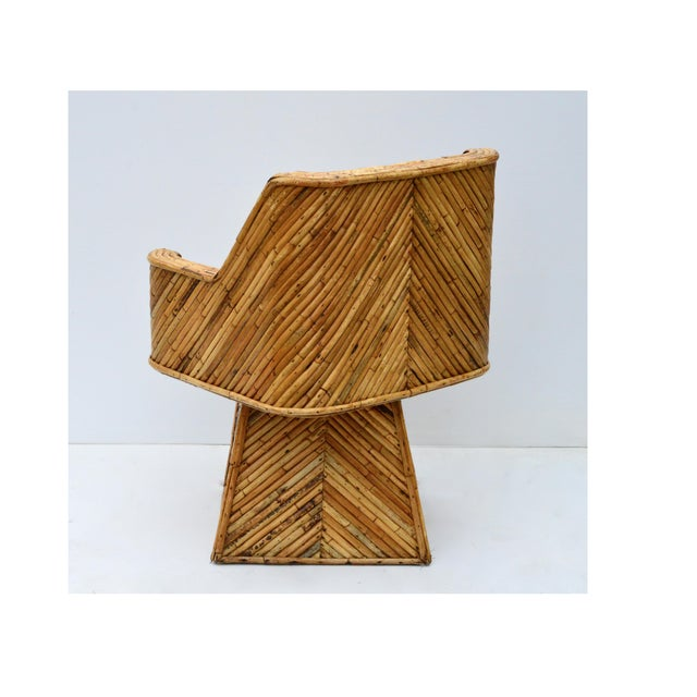 White Rare Bamboo Swivel Chairs in the Manner of Crespi For Sale - Image 8 of 11