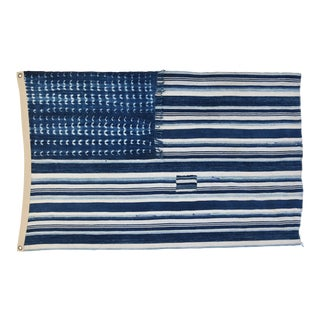 "Boho Chic Indigo Blue & White Flag From African Textiles 54"" X 35"""
