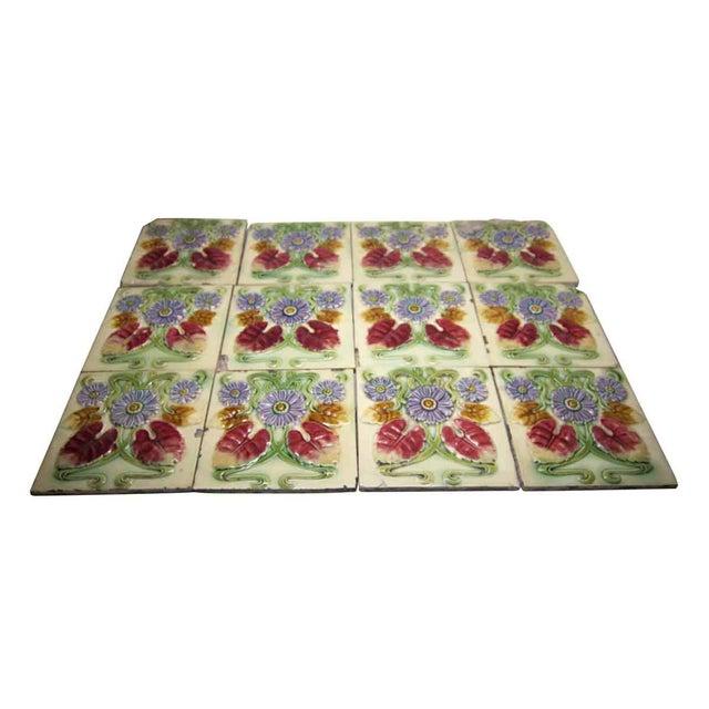 Floral Decorative Colorful Art Nouveau Tiles - Set of 15 For Sale - Image 5 of 10