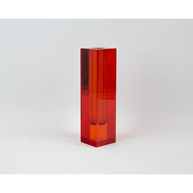 Red Orange Rectangular Lucite Bud Vase For Sale In New York - Image 6 of 12