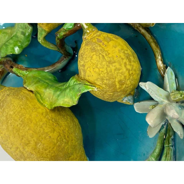 Turquoise Menton French Majolica Wall Plaque Turquoise With Lemons by J. Saissi Circa 1880 For Sale - Image 8 of 13