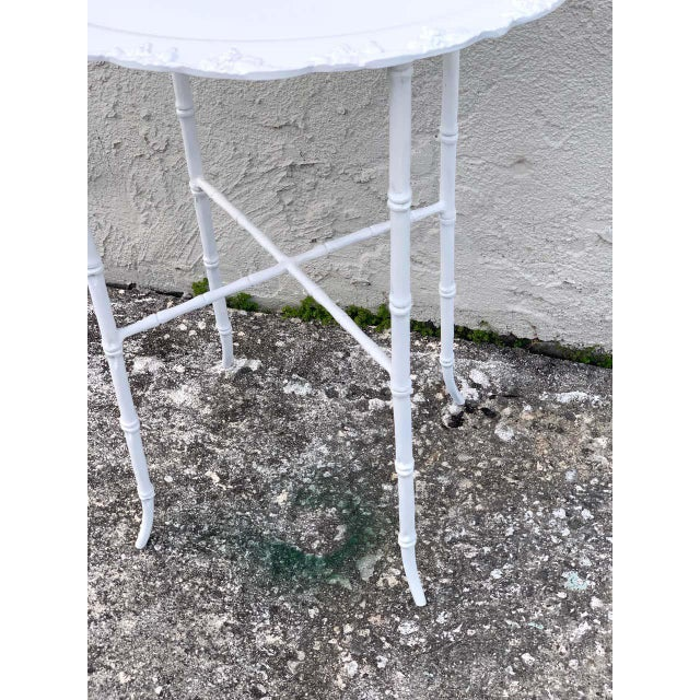 Faux Bamboo and Grape Motif White Enameled Tray Table, Provenance Celine Dion - a Pair For Sale In West Palm - Image 6 of 10