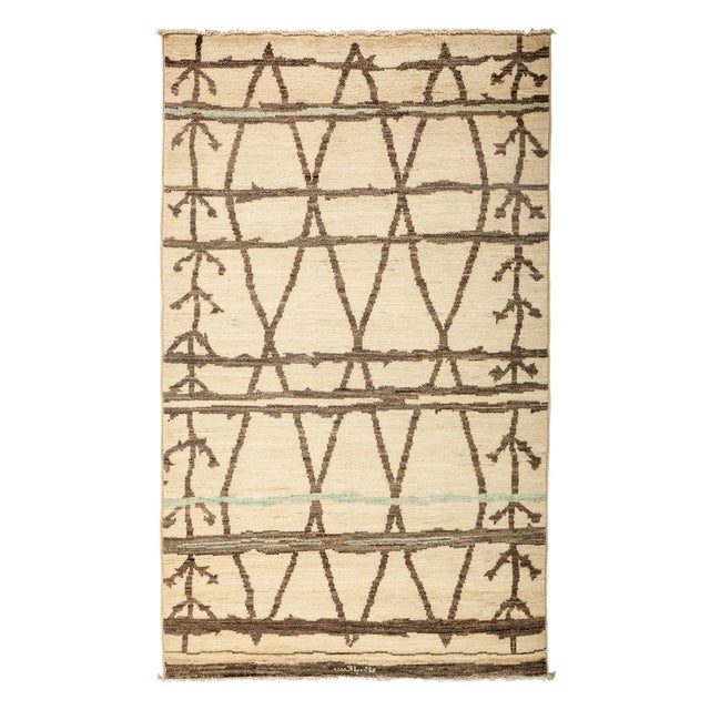 """New Moroccan Hand-Knotted Rug - 4' 9"""" X 8' 1"""" - Image 1 of 3"""