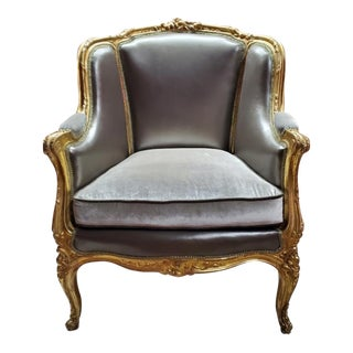 1930s Antique Victorian Carved Wingback Chair Newly Upholstered For Sale