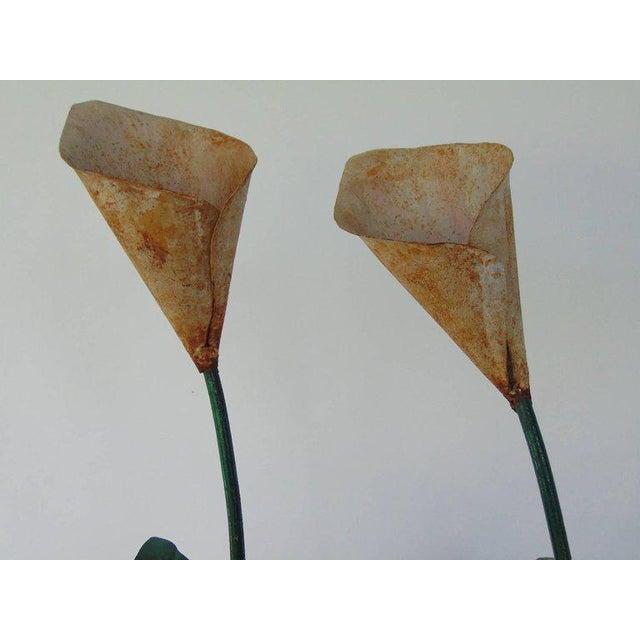 Cottage Tole Peinte Calla Lilies in Concrete Faux Bois Jardinieres - A Pair For Sale - Image 3 of 7