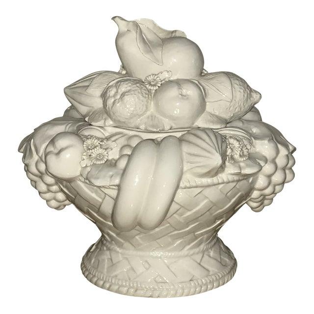 Italian White Ceramic Fruit Basket Centerpiece For Sale