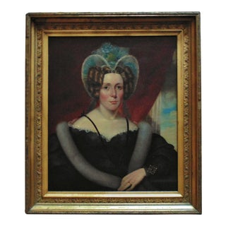 Early 19th Century Portrait of a Lady Woman Oil Painting, Framed For Sale