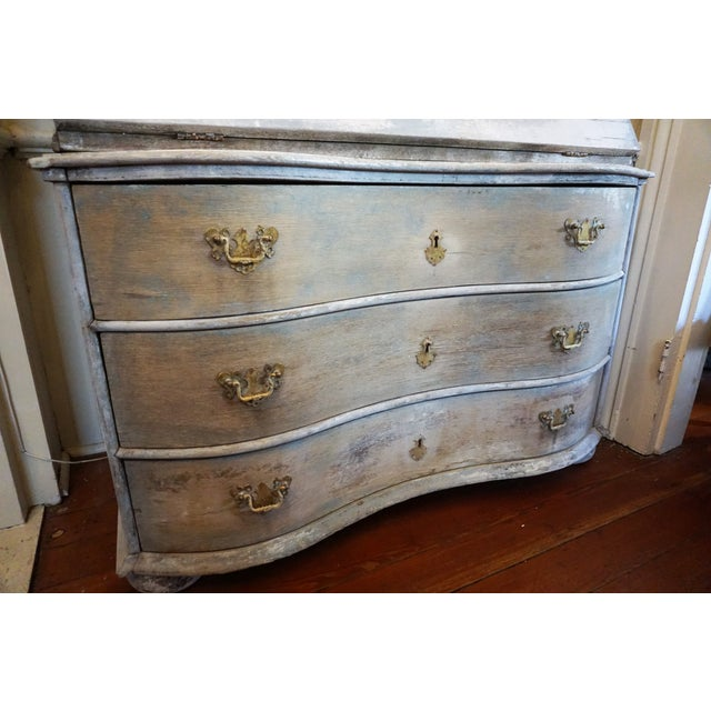 Gray Swedish Gustavian Painted Secretaire For Sale - Image 8 of 12