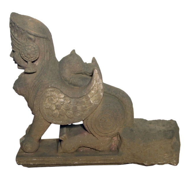 19th Century Hand-Carved Stone Sphinx With Tiara and Earrings Sculpture For Sale - Image 4 of 13