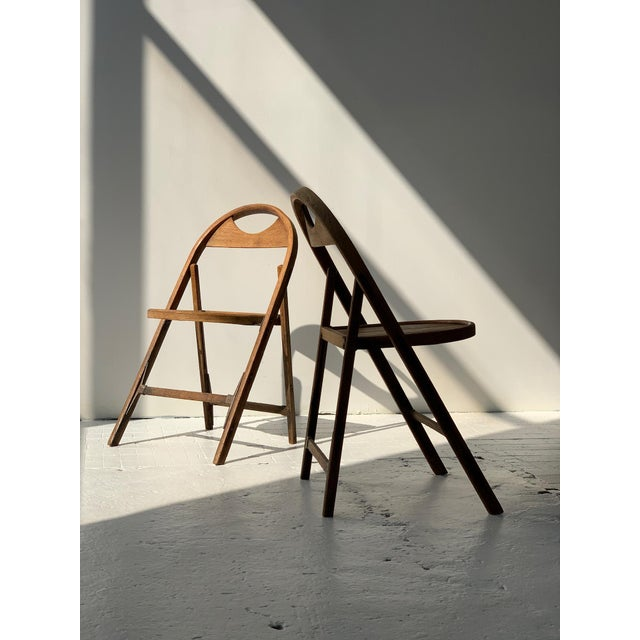 American 1930s Bauhaus Bent Wood Folding Chairs - a Pair For Sale - Image 3 of 13