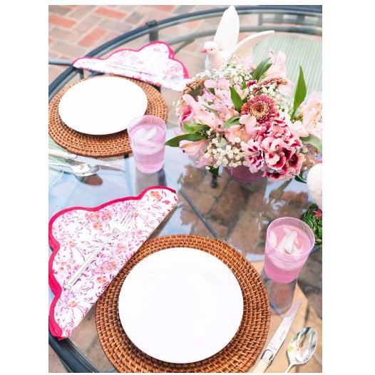Pink Floral Scalloped Placemats and Napkins - Service for 4 For Sale - Image 4 of 5
