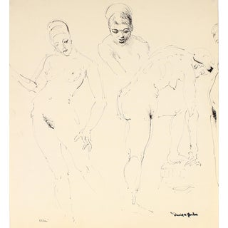 """Ellen"" 1948 Ink on Paper Monochromatic Portrait Drawing For Sale"