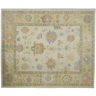 Contemporary Turkish Oushak Rug - 12′5″ × 14′9″ For Sale