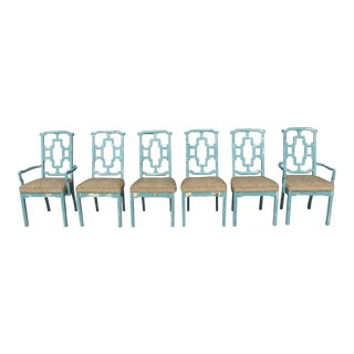 Set of 6 1970's Chinese Chippendale Chairs in Parzinger Blue