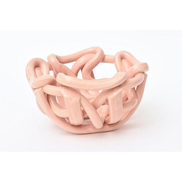 1970s Vintage Twisted Glazed Ceramic Sculptural Bowl For Sale - Image 5 of 11