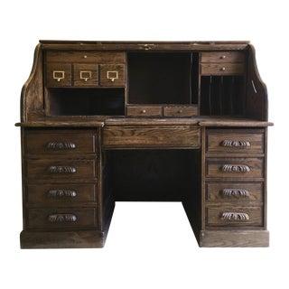 Antique Rolltop Solid Oak Desk