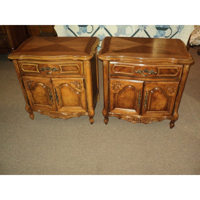 Stanley French Provincial Pecan Nightstands - A Pair - Image 3 of 6