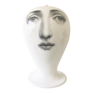 Large Fornasetti Double-Faced White China Vase For Sale