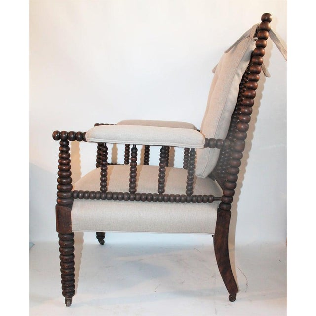 Country 19th Century Barley Twist Spool Chair in Natural Linen For Sale - Image 3 of 7
