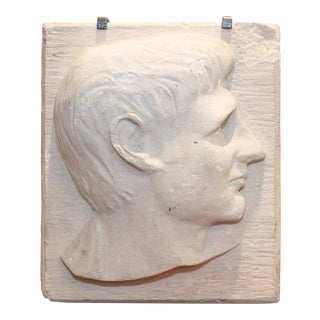 Vintage Mid-Century Stone Portrait Relief on Iron Stand For Sale