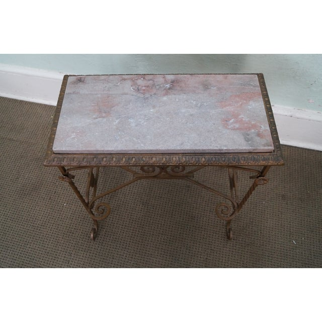 Antique Wrought Iron Marble Top Side Table - Image 3 of 10