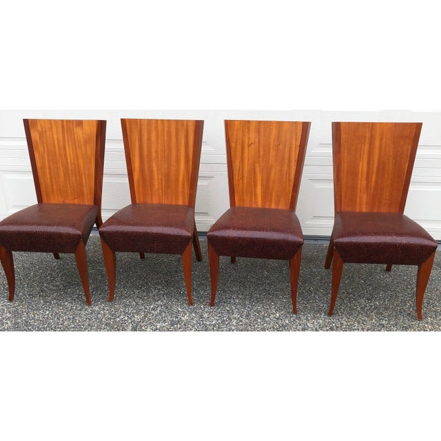 Brown Modern Dakota Jackson Aldabhra Side Chairs- Set of 4 For Sale - Image 8 of 8