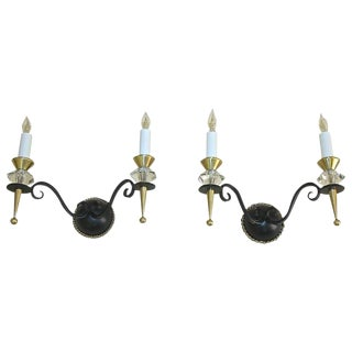 1930s Art Deco Brass Crystal and Painted Iron Sconces - a Pair For Sale