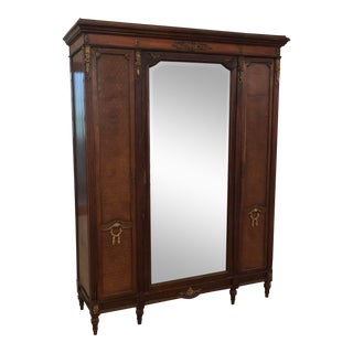 French Louis XVI Inlaid Parquetry and Ormolu Mirrored Armoire Dresser, Circa 1900 For Sale