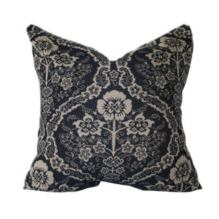 "Blue Farmhouse Style Pillow in ""Ink"" For Sale"