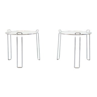 Late 20th Century Chrome Side Tables- A Pair For Sale