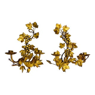 Mid 20th Century Italian Florentine Golden Gilt Wall Sconces - a Pair For Sale