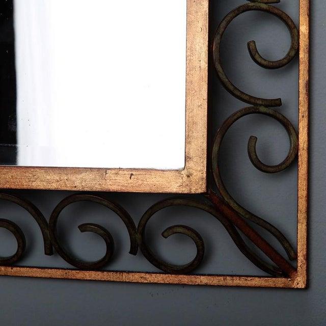Art Deco Gilt Iron Framed Rectangular Mirror For Sale - Image 4 of 7